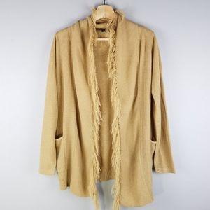 Earthbound Tan Knit Fringe Open Cardigan Sweater